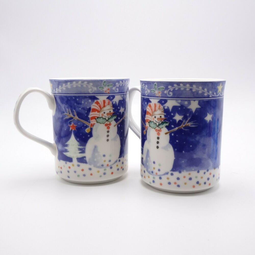 Details about Snowman Mugs - Noritake Epoch Lot of 2 - 10 oz cups | Snowman mugs. Mugs. Noritake