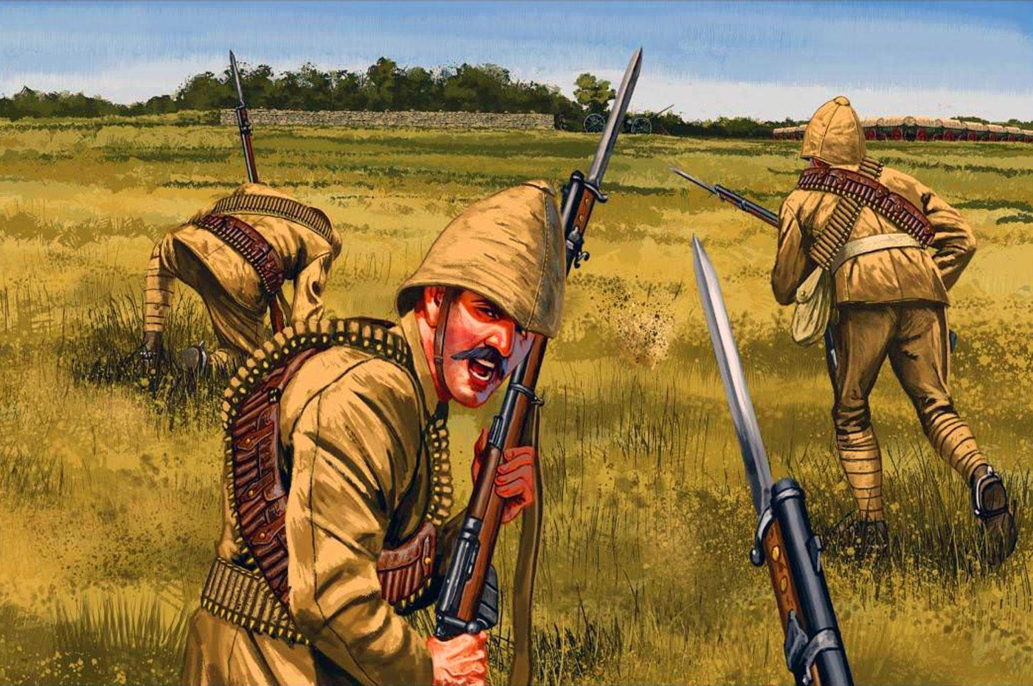 British troops in battle, Boer War Military illustration