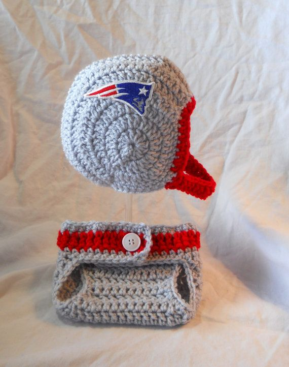 edf9af0e602 New England Patriots Inspired Crochet Baby Football Helmet Hat  w Embroidered Logo and Diaper Cover Set - 0-3 Months