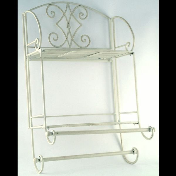 White Metal Vintage Wall Mounted Towel Rail And Shelves At