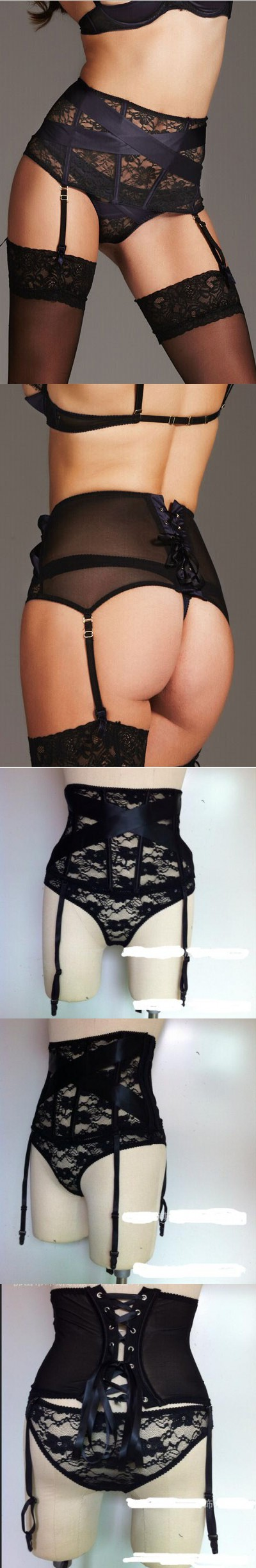 High Waist Garter Belt Women Black Floral Lace Garter Belt with Thong G-String Lingerie Set Sexy Liguero Stocking Suspender Belt