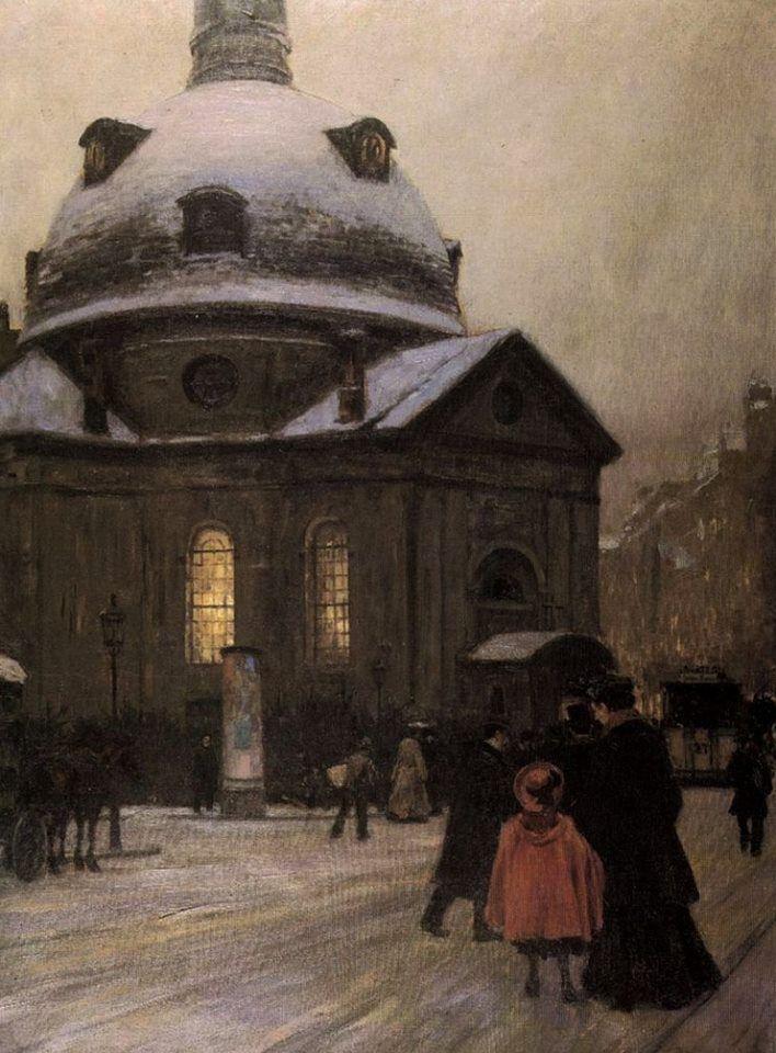 Franz Skarbina~ Böhmische Kirche am Heiligen Abend ~1903