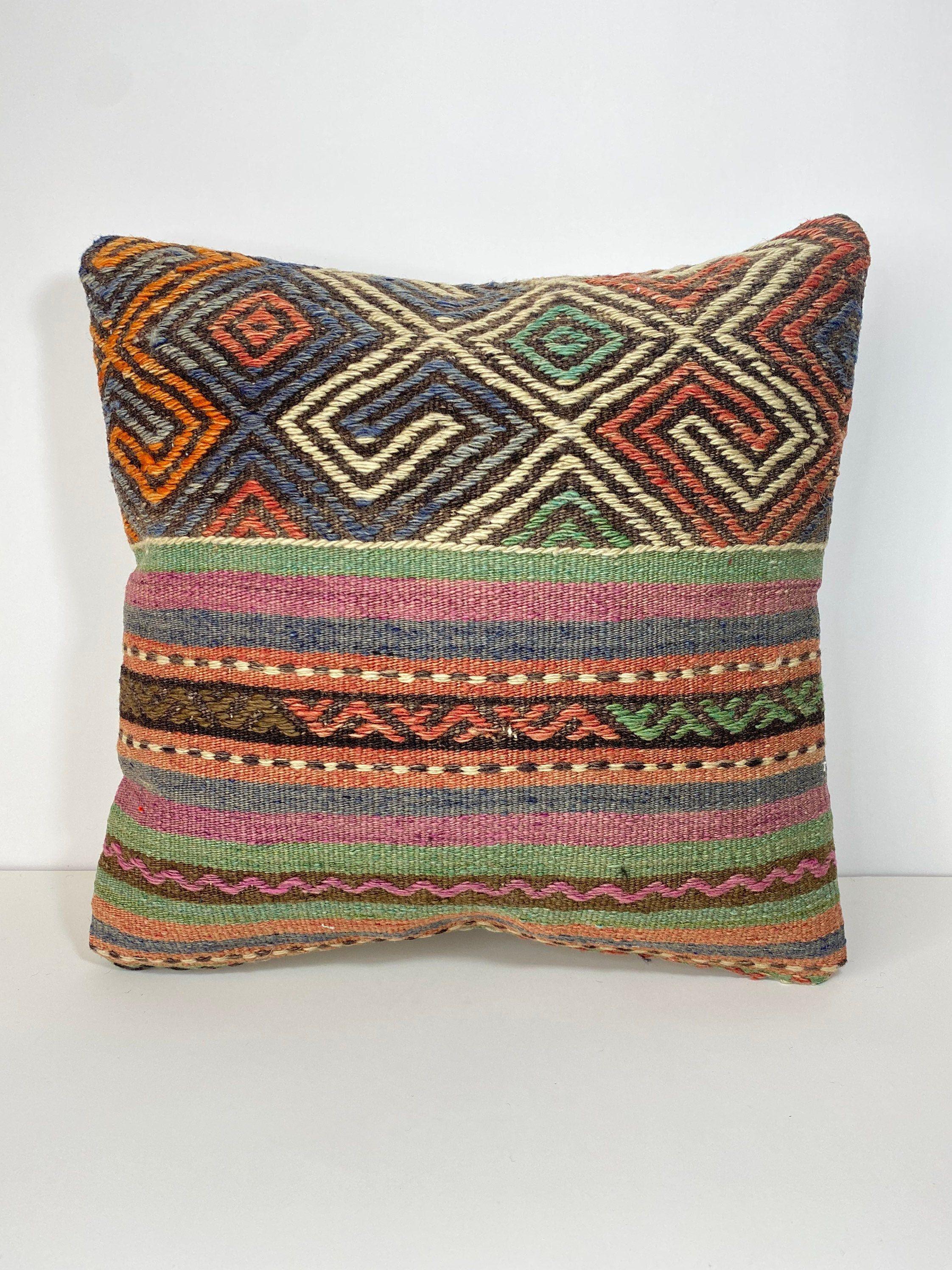 kilim pillow,bohemian pillow,turkish,vintage,handwoven pillow,home living,home decor,throw pillow,accent pillow,16x16,decorative pillow