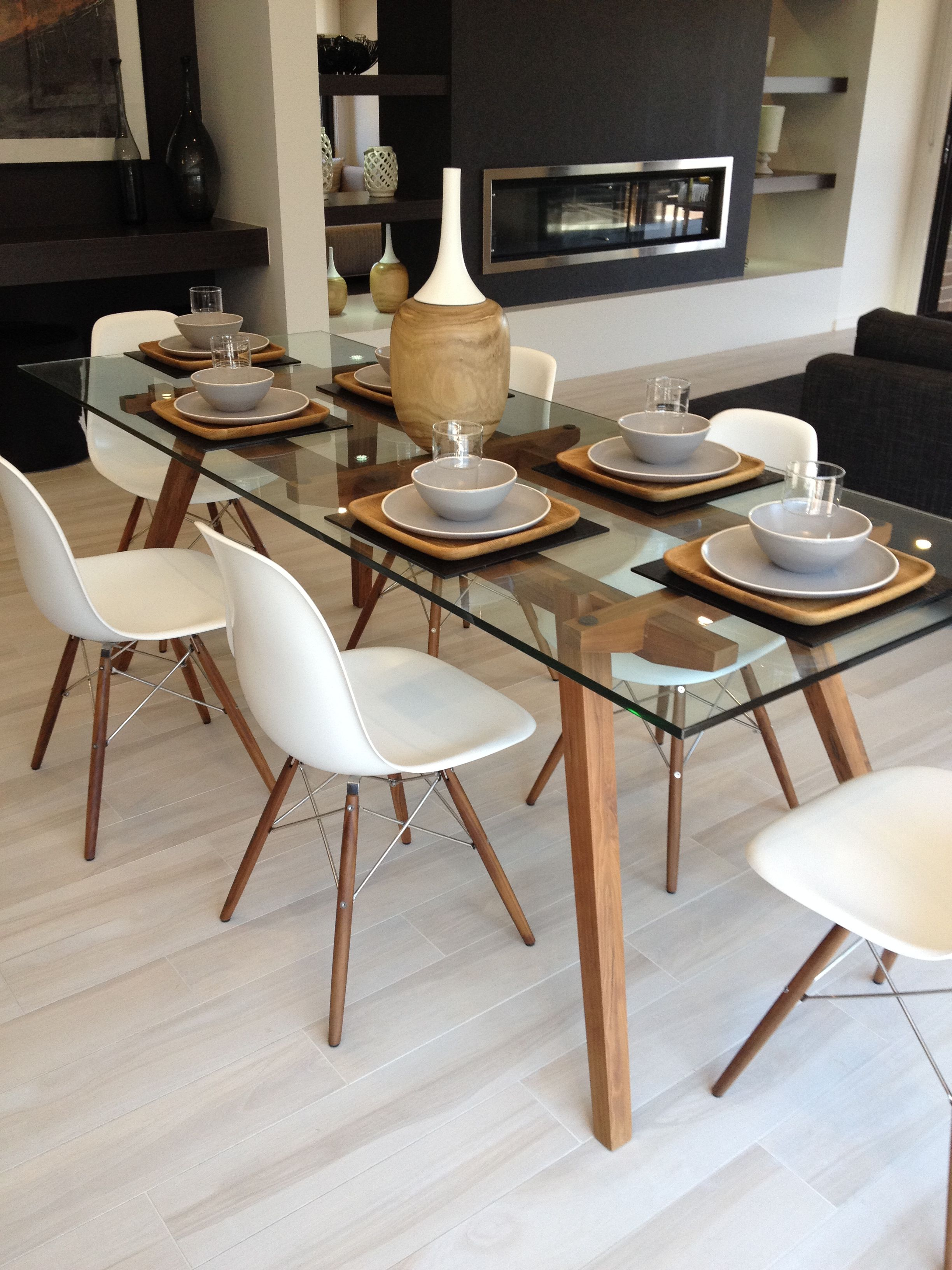 Sticotti Glass Dining Table And Eames Dining Chairs In Walnut - Rectangular glass dining table with wood base