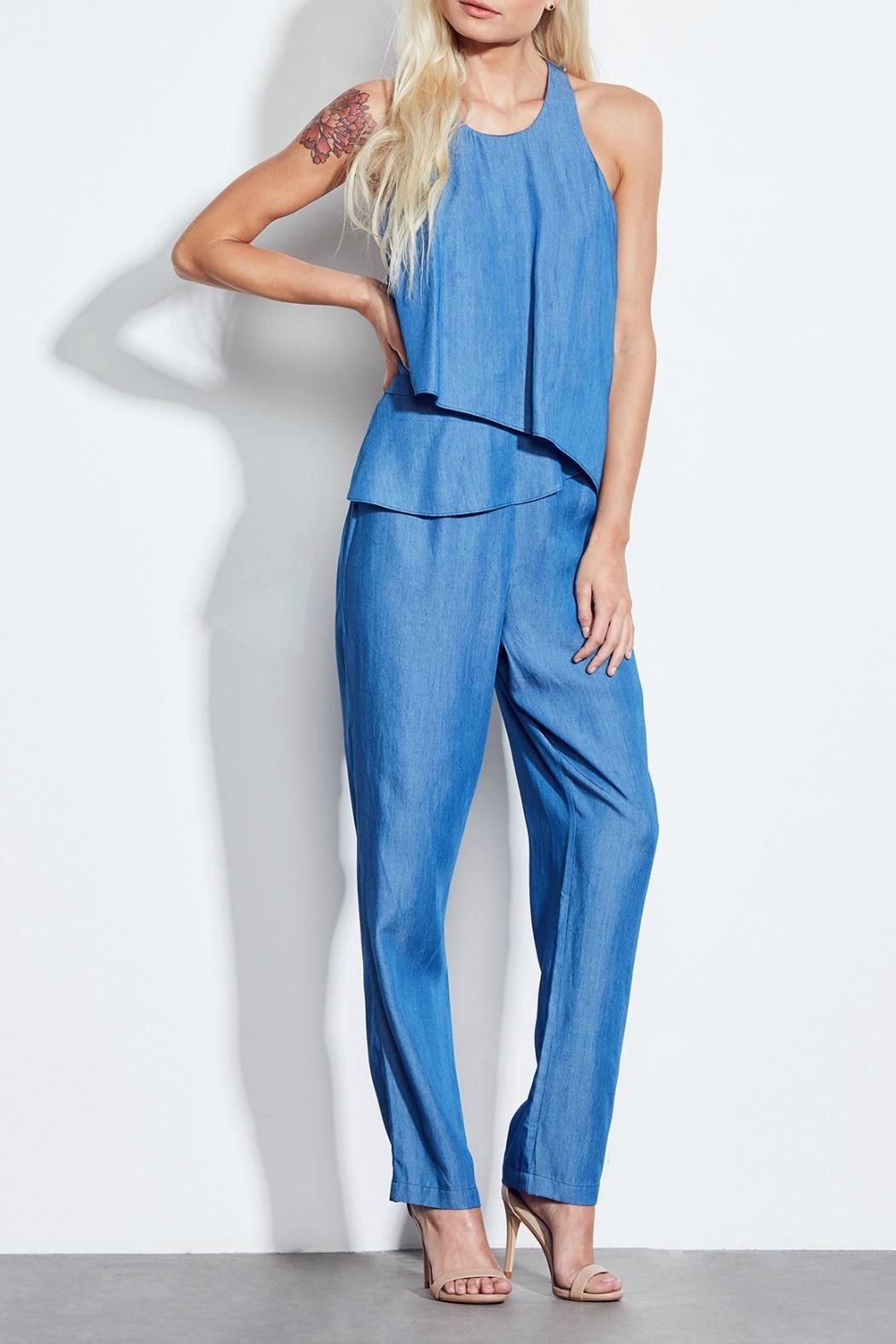 Chambray more like cham-part-tay. This chambray sleeveless jumpsuit features cross-over draped bodice racerback back and elastic waistline in the back for a better fit. Jungle Garden Jumpsuit by Ali & Jay. Clothing - Jumpsuits & Rompers - Jumpsuits Ohio