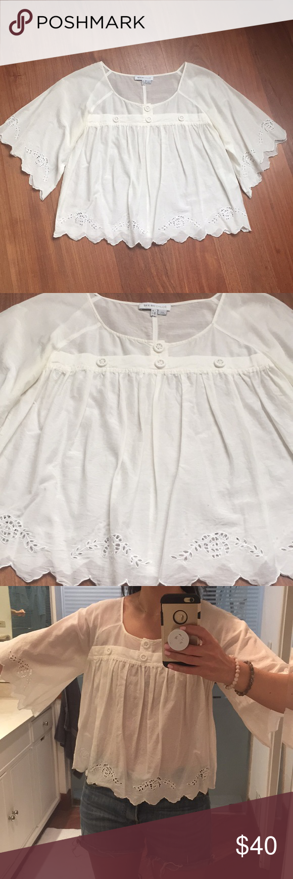 c3d2a0afb5019 See By Chloe White Boho Eyelet Boxy Top Us Sz 6 A slightly sheer white  cotton
