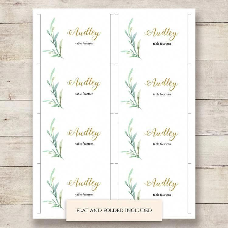 Free Printable Table Numbers Greenery Wedding Wedding Place Card Templates Place Card Template Name Place Cards Wedding