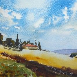 Free Video Lesson Watercolor Landscape Of A Vineyard Aquarelle