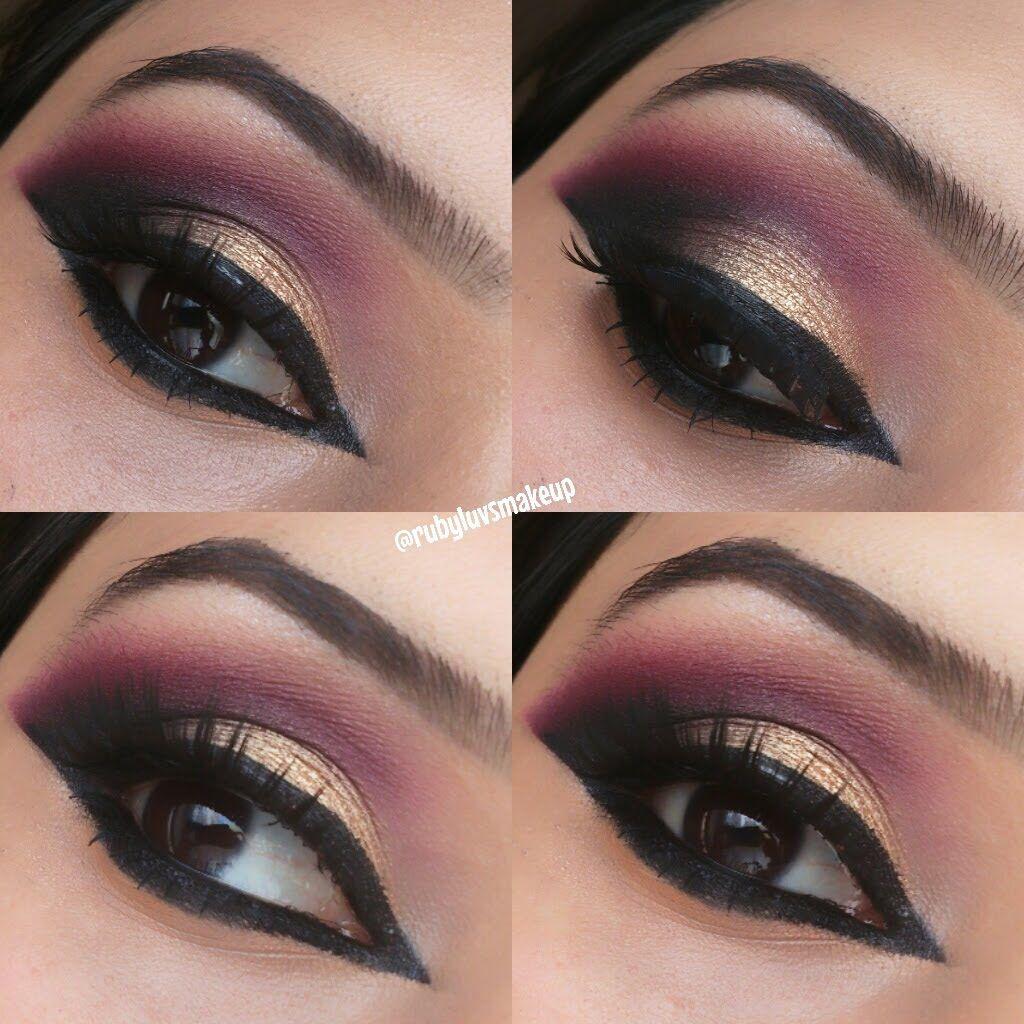Gold Red Black Smokey eye Smokey eye makeup, Smokey