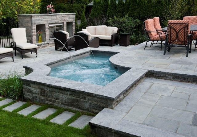 Custom Concrete Spa Water Features Pentair Toronto Pools Landscape Design Outdoor Living