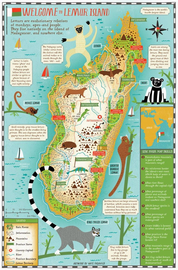 Madagaskar Karte Nationalparks.I Draw Maps Lemur Island Maps In 2019 Map Of Madagascar