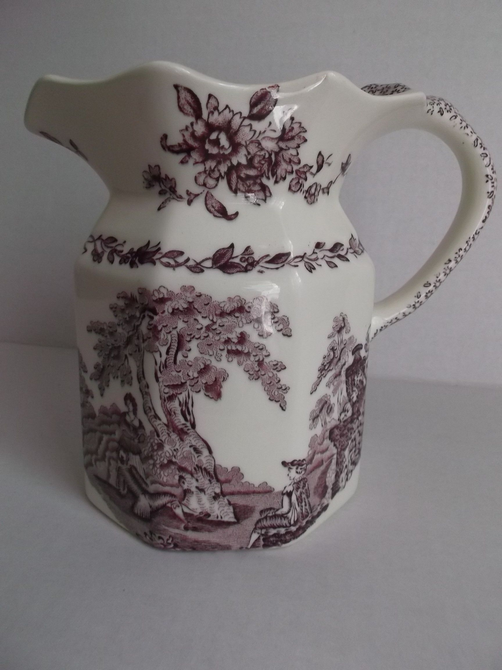 Masonu0027s Vintage Pitcher Watteau Mulberry Lady Men Trees Flowers & Masonu0027s Vintage Pitcher Watteau Mulberry Lady Men Trees Flowers ...