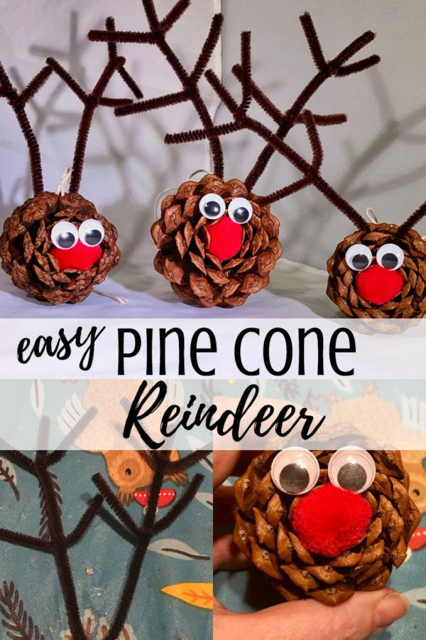 Easy Pine Cone Reindeer Ornament Craft for Kids