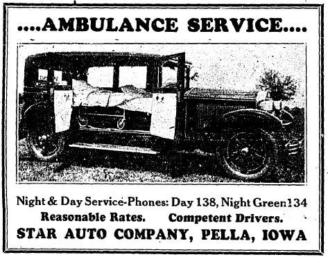 in 1931 pella s ambulance was operated by the star auto company forerunners of today s ulrich motor co the best they could do w pella day for night ambulance pinterest
