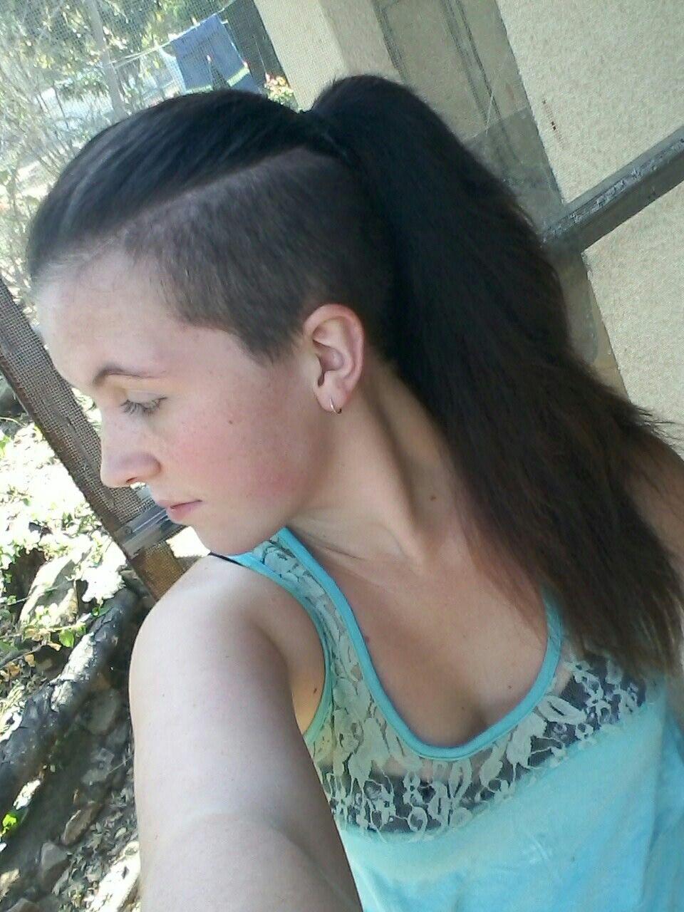 Sidecut Ponytail Sideshave Long Hair Shaved Side My Sidecut Undercut Long Hair Long Hair Shaved Sides Long Hair Styles
