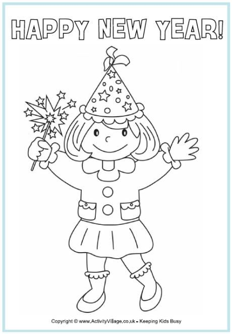 Week One New Year Happy New Year Colouring Page Girl Celebrating With Sparkler And Party Hat New Year Coloring Pages Coloring Pages Colouring Pages
