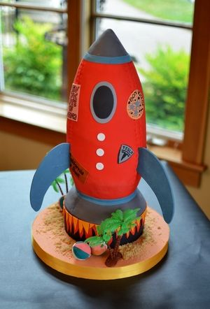 Retro Rocket Ship Cake With Edible Per Stickers