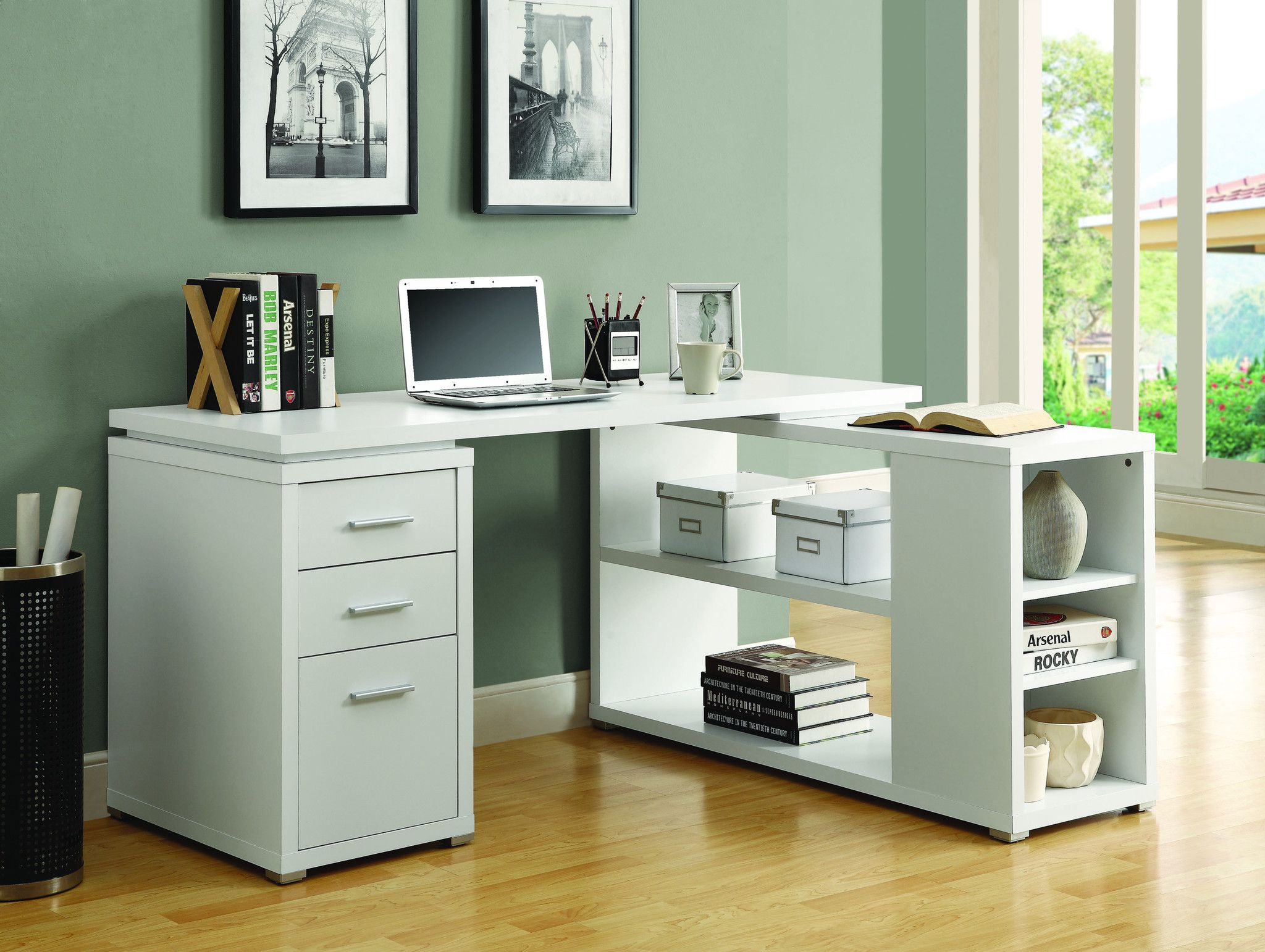 Open Shelving Storage, Enclosed Drawer Storage, Huge Desk Top Space, And  All Finished In A Sweet White Finish   And All Constructed With Quality  Materials ...