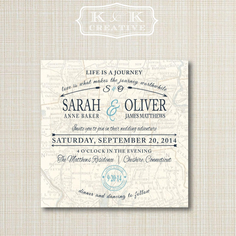 Custom Map Printable Wedding Invitation 4x4 by kandkcreative