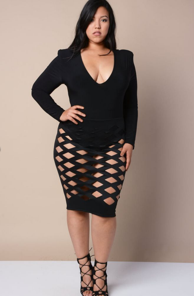 f07bd12b3f4 Super Hot Sexy Plus Size Black Cage Fit Bodycon Midi Dress CLUBWEAR PARTY  DRESS  OTHER  Clubwear