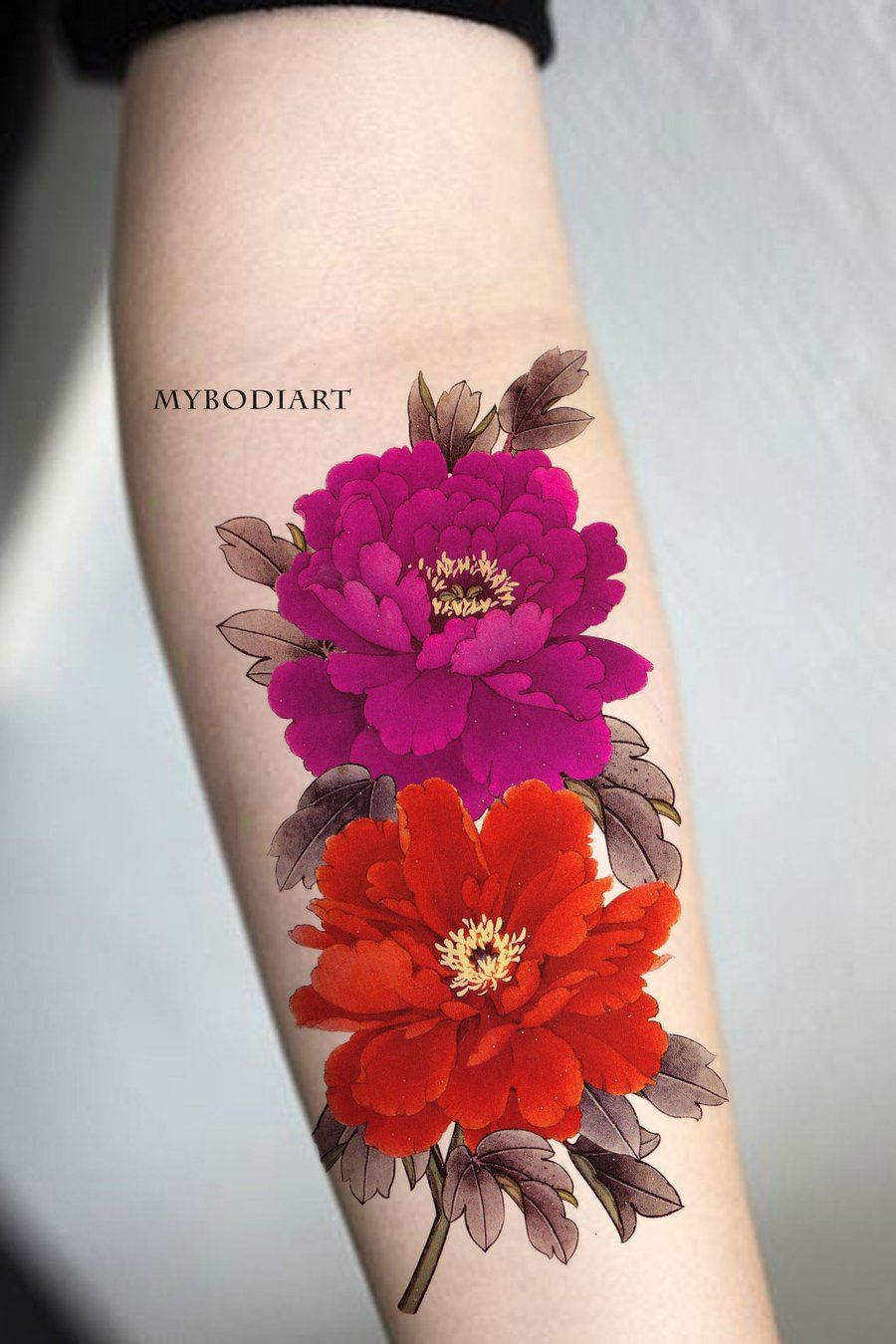 Peony Watercolor Flower Tattoos: Scarlett Watercolor Red Floral Flower Peony Temporary