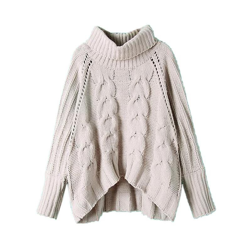 ce9c9cf209 Gray Long Sleeve Turtleneck Pullover Women Fall Winter Warm New Design Loose  Casual Cable Knitted Sweater