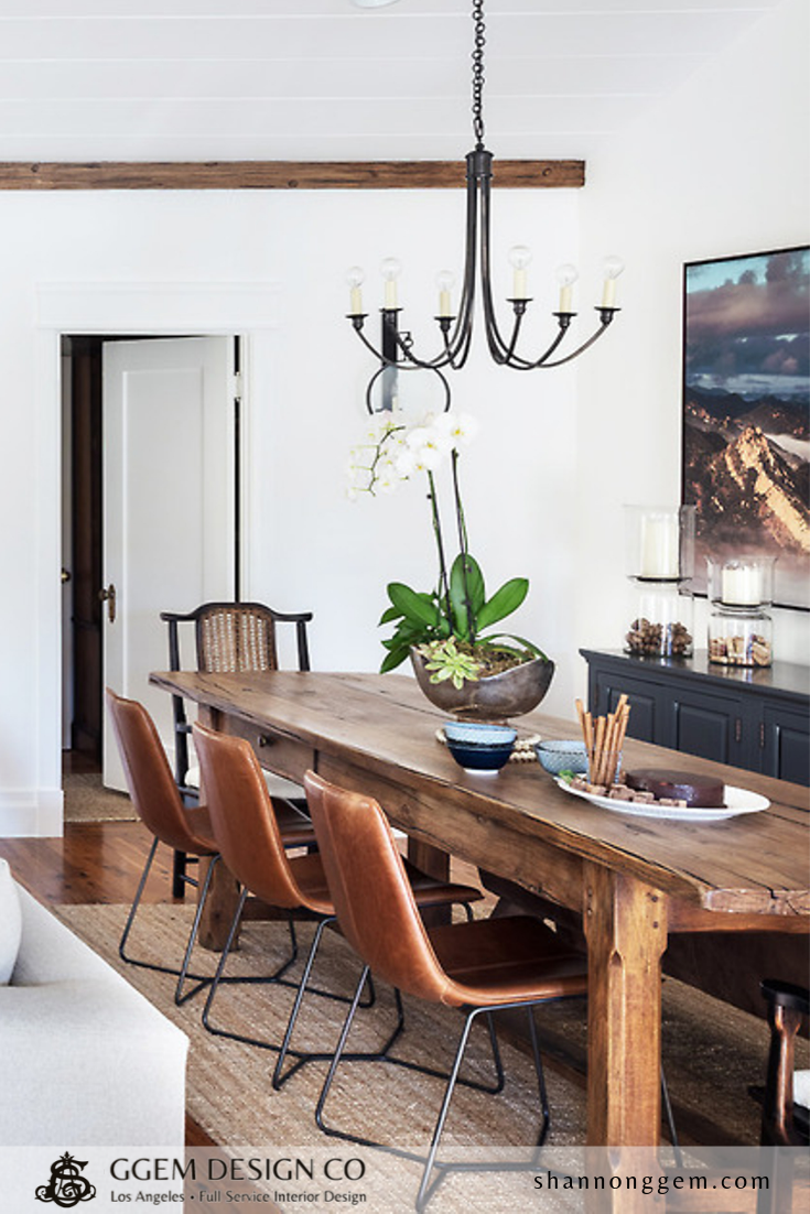 Rustic Farmhouse Dining Table With Boho Leather Chairs Vintage