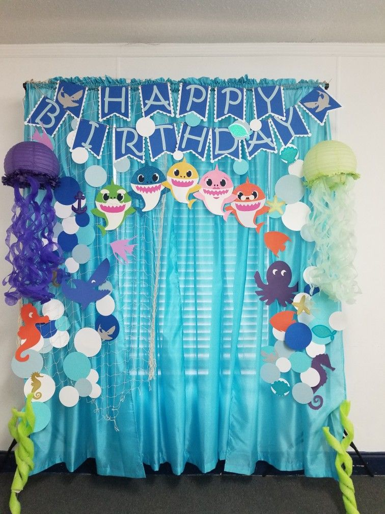 Set Up This Backdrop For A 1 Year Old Birthday Party Backdropideas Babyshark Shark Themed Birthday Party Shark Theme Birthday Baby Boy 1st Birthday Party