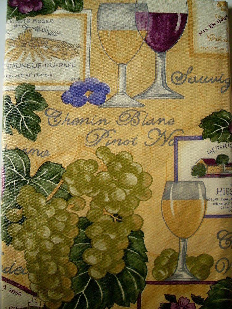 52x90 Oblong VINYL/FLANNEL TABLECLOTH VINEYARD GRAPE WINE MULTI COLOR  ELRENE #ElreneHomeFashions