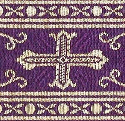 "Blue Gold Jacquard Trim Church Vestment Sewing Celtic Cross 3¾/"" wide 3 Yards"
