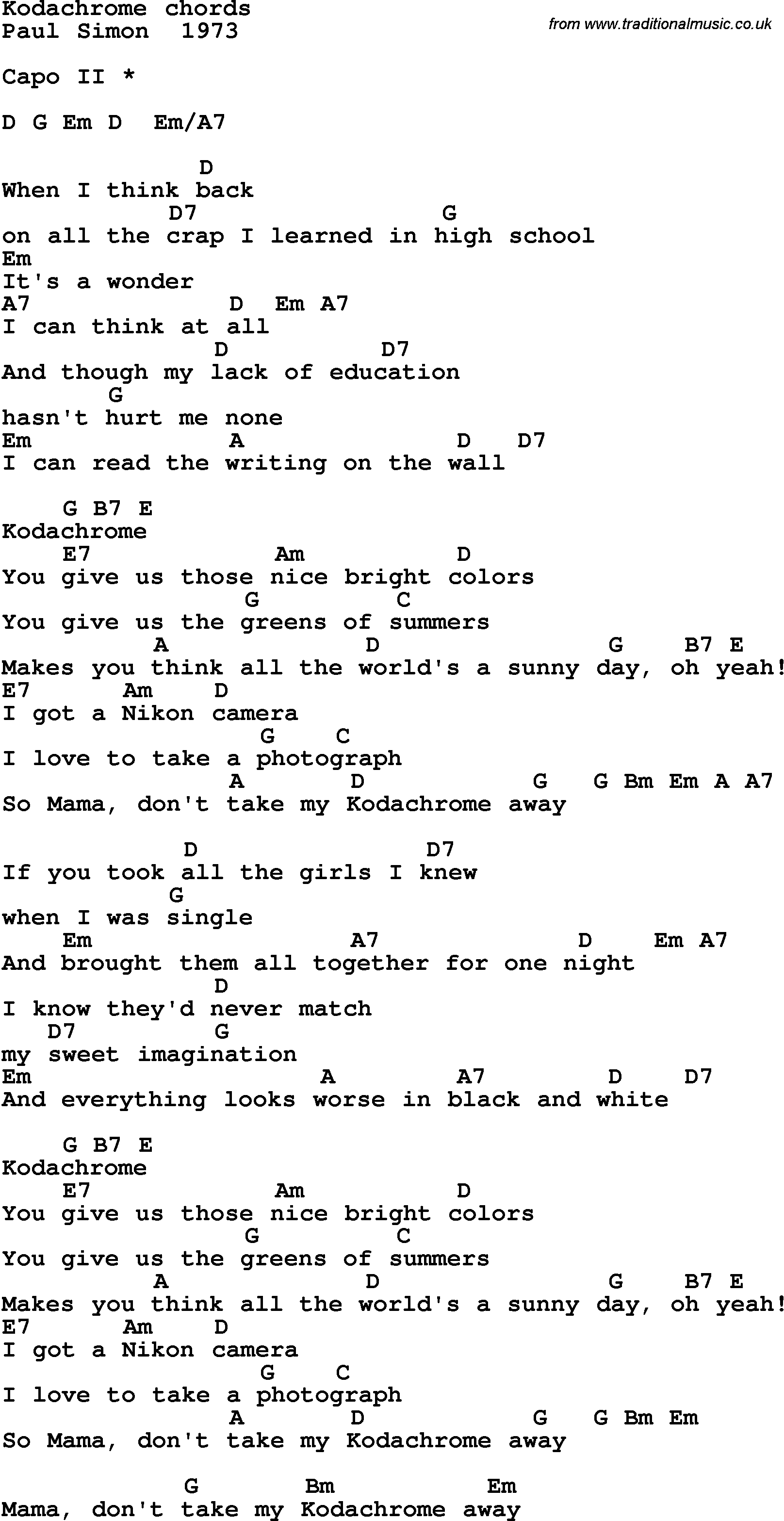 Song Lyrics With Guitar Chords For Kodachrome Music Pinterest