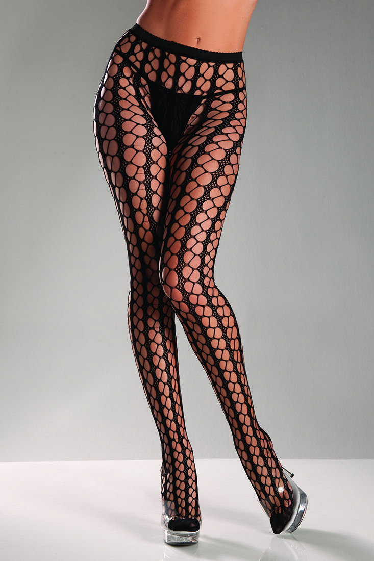 ce458ead7 ... or thigh high stockings. Be Wicked Black Nylon Seamless Warning Net  Pantyhose