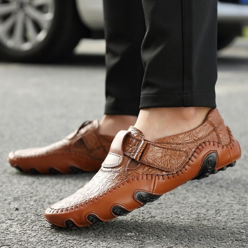 Mens Casual Oxfords Leather Shoes Driving Peas Breathable Loafers Slip on Comfy