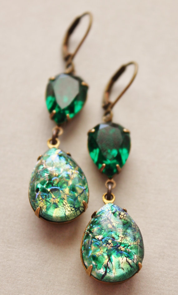 Vintage Emerald Opal Earrings Green Fire Rare Swarovski Jewelry Hourgl Rhinestone