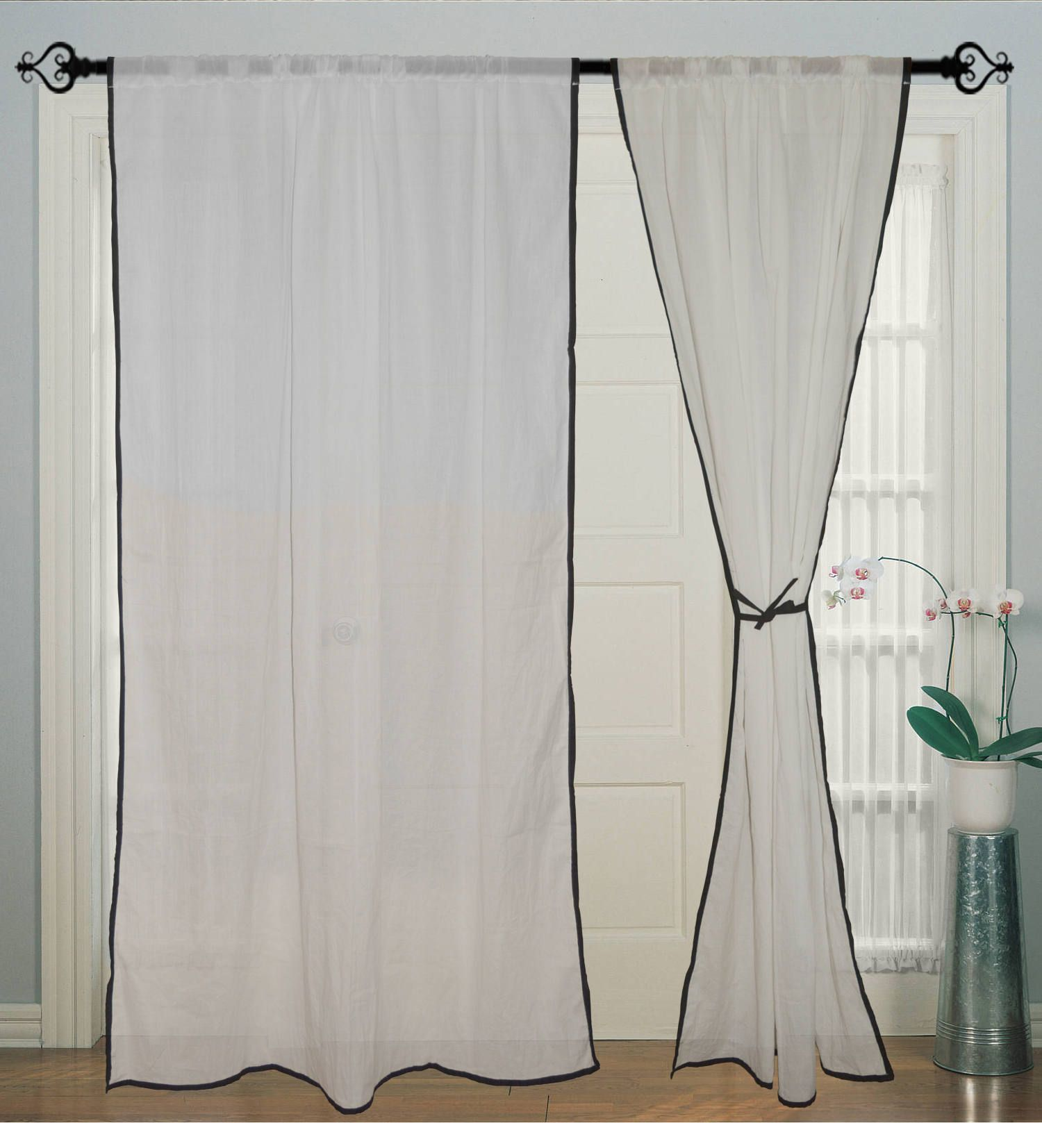 2pcs Cotton Curtain Window Ds Treatment For Doors Indian Fabric Black Border White Curtains By Jagirdar On