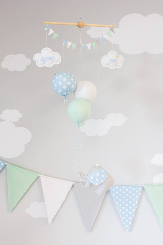 Elephant Baby Mobile, Pastel Blue, Mint and White, Boys