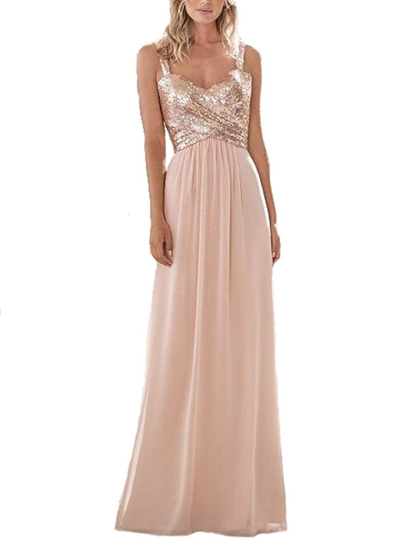 Lilyla womenus rose gold sequined longshort bridesmaid dress a line