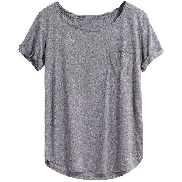 e41df2cadb18 ( 9.99) ❤ liked on Polyvore featuring tops, t-shirts, gray t shirt, pocket  tees, short sleeve tee, pocket t shirts and summer tops