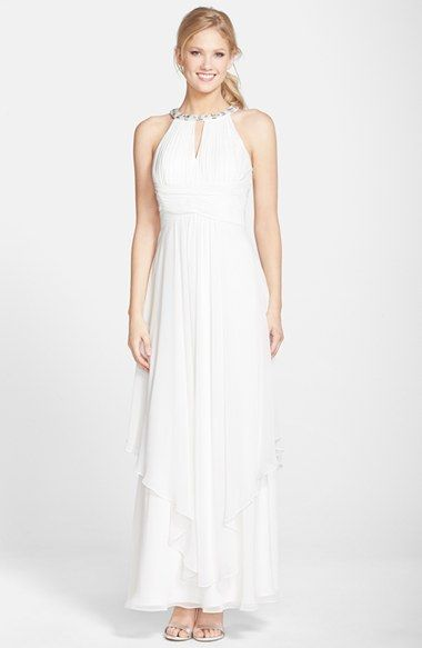 36ed664b0b95 CHAMPAGNE Eliza J Embellished Tiered Chiffon Halter Gown available at # Nordstrom