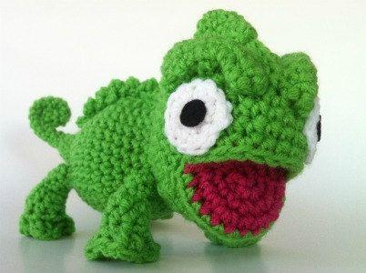 Charming Chameleon Pattern Amigurumi Crochet PDF   Häkeln, Gehäkelte ...