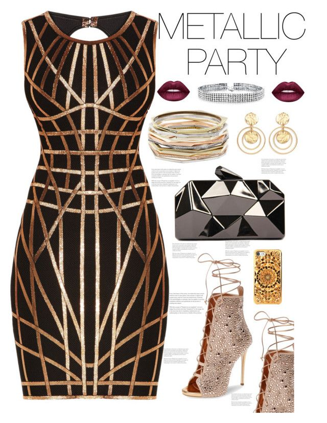 """""""MetallicParty"""" by avfranz ❤ liked on Polyvore featuring Hervé Léger, Giuseppe Zanotti, WithChic, Felony Case, Kendra Scott, Kenneth Jay Lane, Bling Jewelry and Lime Crime"""