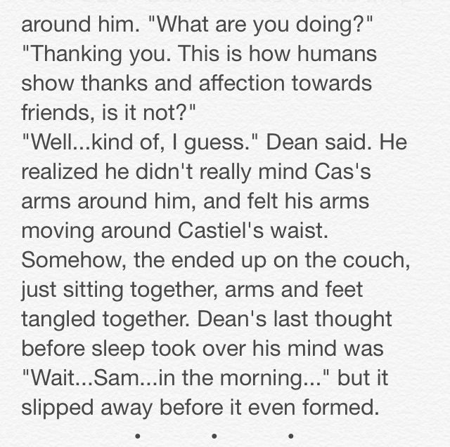 "Destiel: Closets and Cuddles""3/23 // Written by The Tardis-Impala"