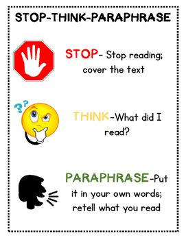 guided reading stop think paraphrase poster and bookmarks