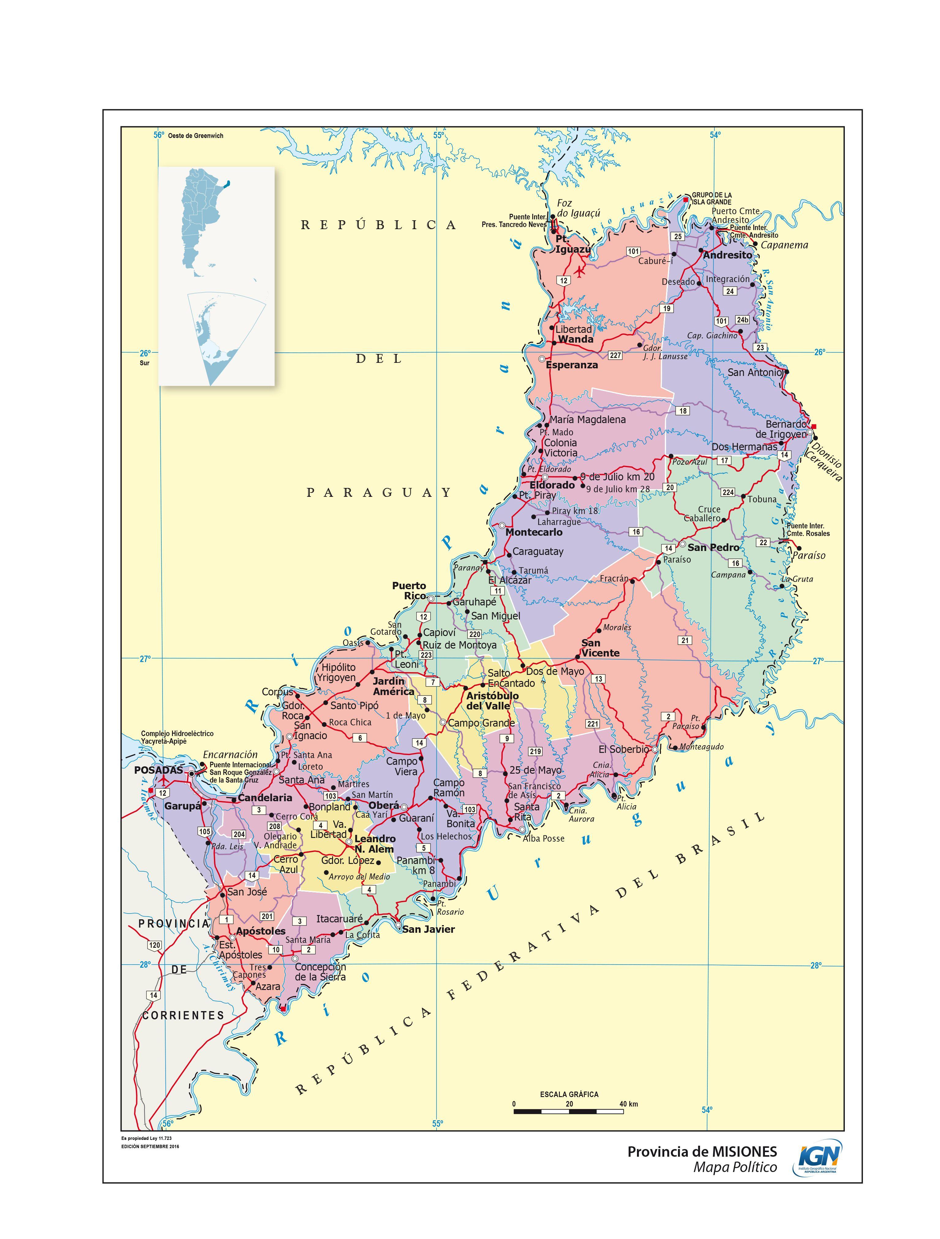 Mapa político de Misiones - Instituto Geográfico Nacional de la ...
