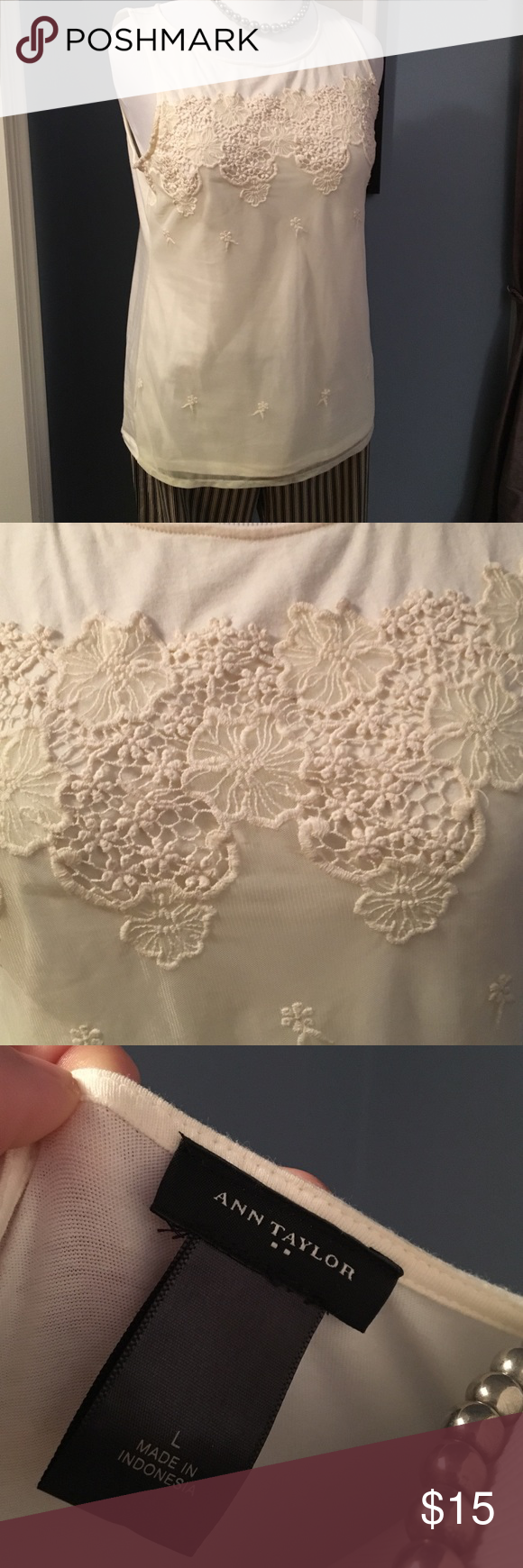 Ann Taylor Romantic Lace Floral Tank Top sz L Sheer lace floral overlay on cream colored stretchy tank top. Cotton/spandex tank with sheer nylon overlay on the front. NWOT Ann Taylor Tops Tank Tops