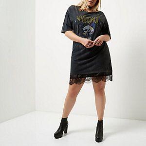 Plus black lace band print longline T-shirt