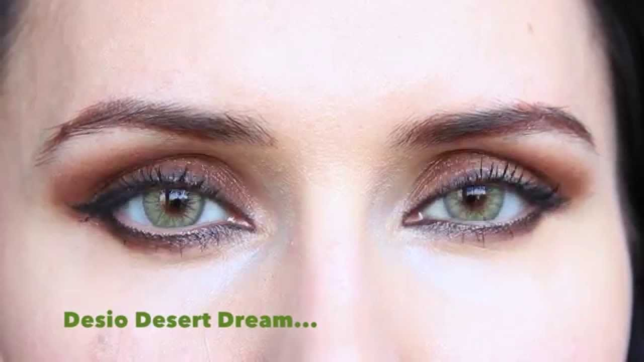 Compare Desio Desert Dream Vs Forest Green On Dark Hazel Eyes Softlens Diva Queen One Layer With Clear Vision