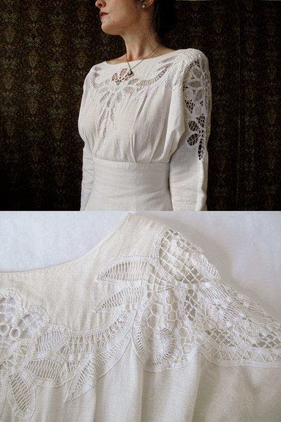 Beautiful vintage white linen wedding dress with cut out embroidery ...