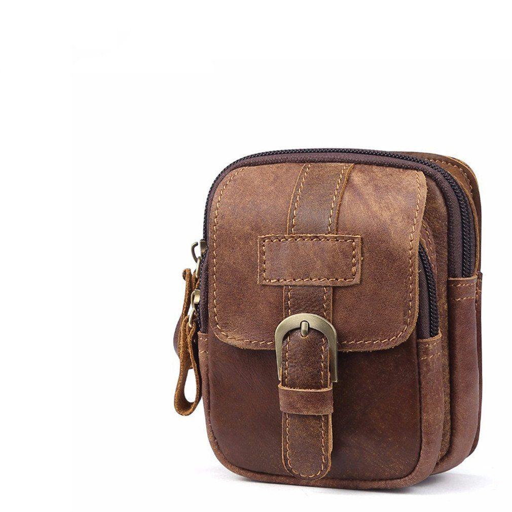 ae156e15cb056 hospital bag - KUAISUF Genuine Leather Men Waist Packs Vinatge Waist Bag Men  Money Belt Bag