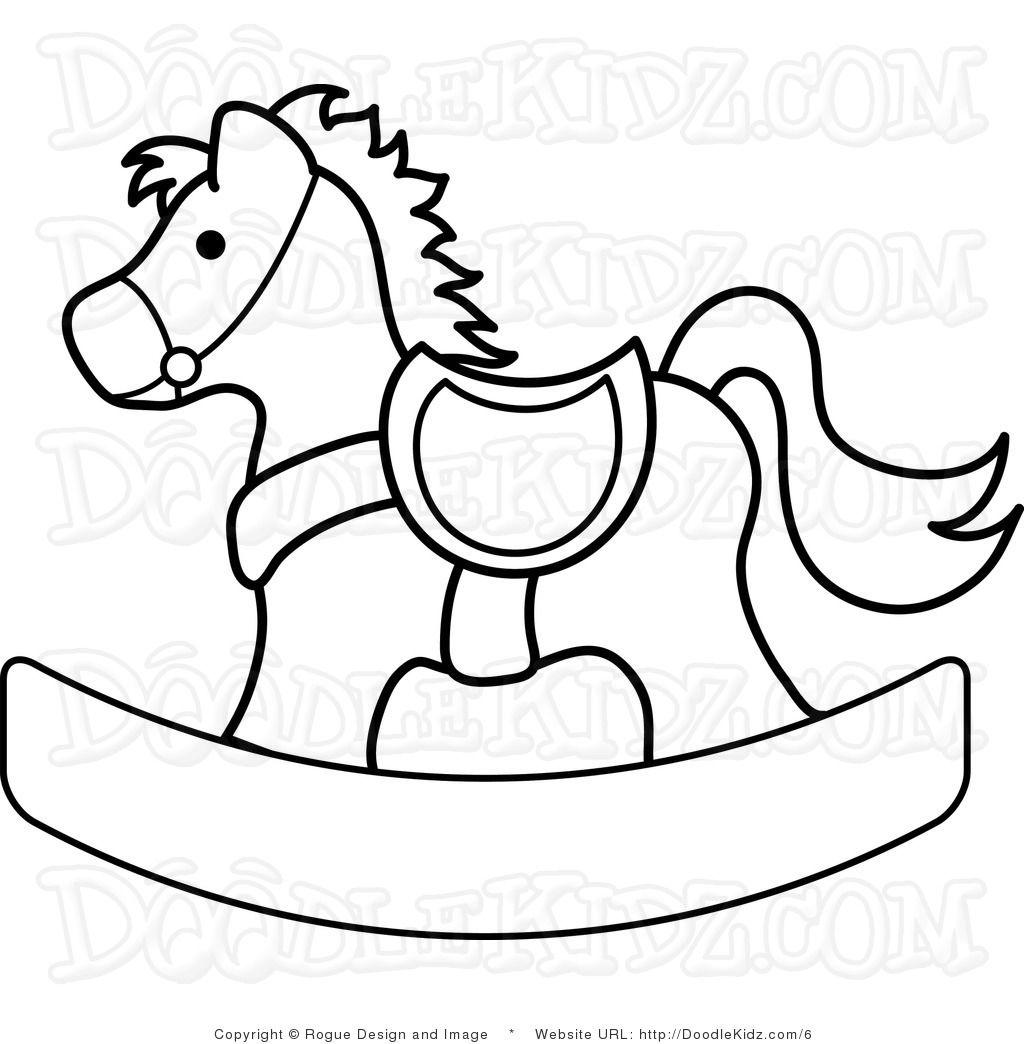 Clip Art Illustration of a Rocking Horse Coloring Page | sil ...